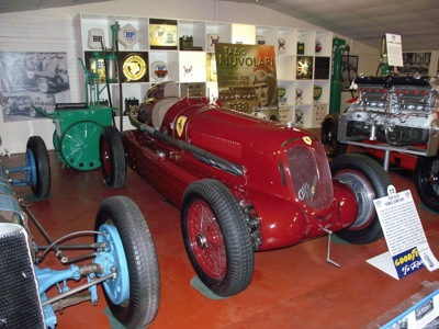 The Alfa Romeo Bimotore as it was restored and on display at Tom Wheatcroft's Donington Collection