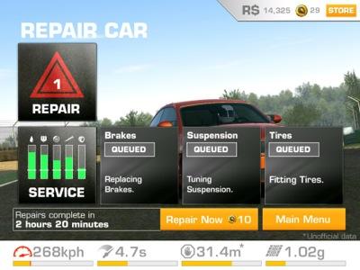 Real Racing 3 repairs