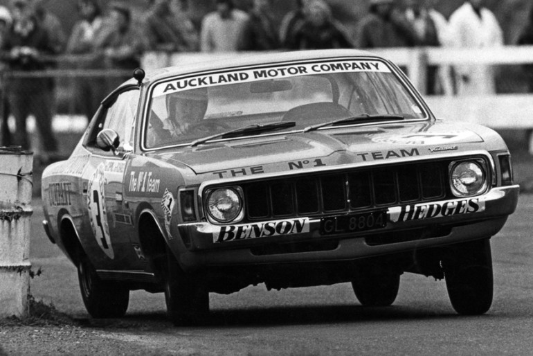 Pukekohe 1973. Jim Richards in the winning Charger he drove with Rod Coppins exits the hairpin during the 1973 Benson and Hedges 500. IMAGE/terry marshall