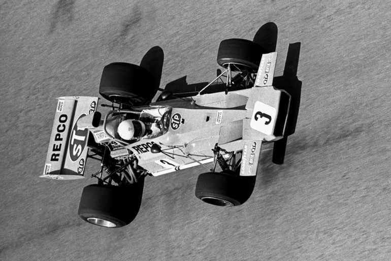 Wigram 1972.  Photographed from atop the air-force control tower the late Frank Matich driving his Matich A50 Repco during the Lady Wigram Trophy race.   IMAGE/terry marshall.