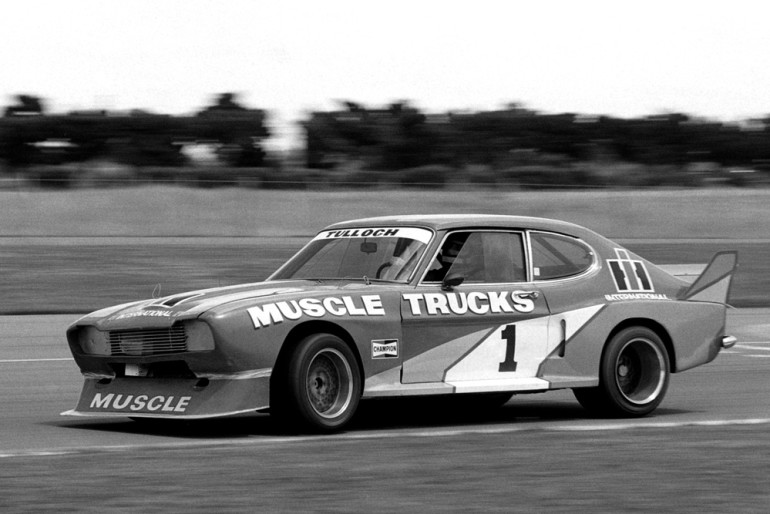 Wigram 1982. Inky Tulloch aboard the X Paul Fahey  Ford Cologne Capri, now powered by a 5.7 litre Chevrolet. IMAGE/terry marshall