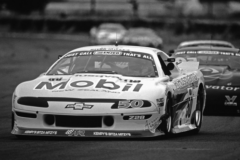 Ruapuna 1996/97. Craig Baird driving the Alan Ferguson Camaro leading the Trans-Am field. IMAGE/terry marshall