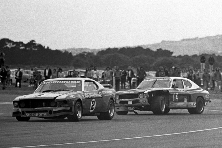 Wigram 1975. Jim Richards Sidchrome Mustang and Paul Fahey, Cologne Capri exit the hairpin during the Tin Top race of the decade. IMAGE/terry marshall
