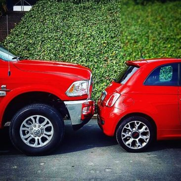 #ram2500 and #Fiat500. They're both red…