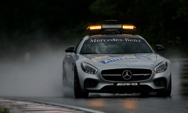 And now we're on to the current F1 safety car. The Mercedes-AMG GT Safety Car is basically an AMG GT S road car. The 0-62mph sprint takes just 3.8 seconds, with a top speed just shy of 200mph.