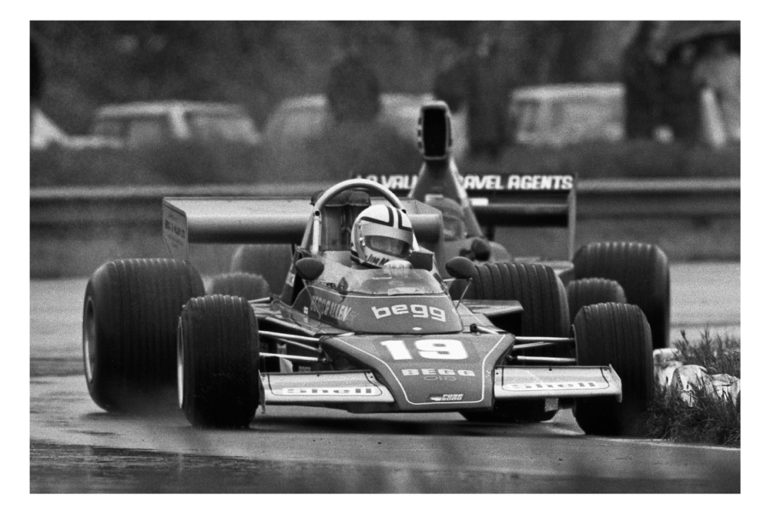 Ruapuna 1975. Jim Murdoch Begg 018 leads Ken Smith Lola T332 during a wet Gold Str round. IMAGE/Terry marshall